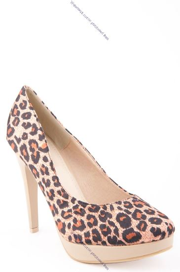 Picture of Leopard Print Stiletto with Patent Heel